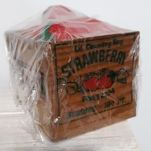 True Vintage Fabric Strawberries in a Wooden Box